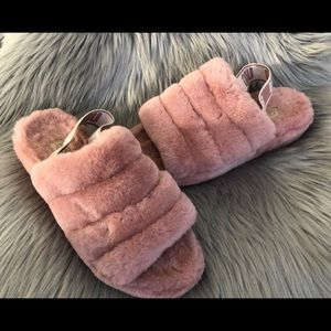 UGG Fluff Yeah Fur Slides Pink Dawn Size 10